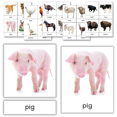 Farm Animals 3-Part Cards